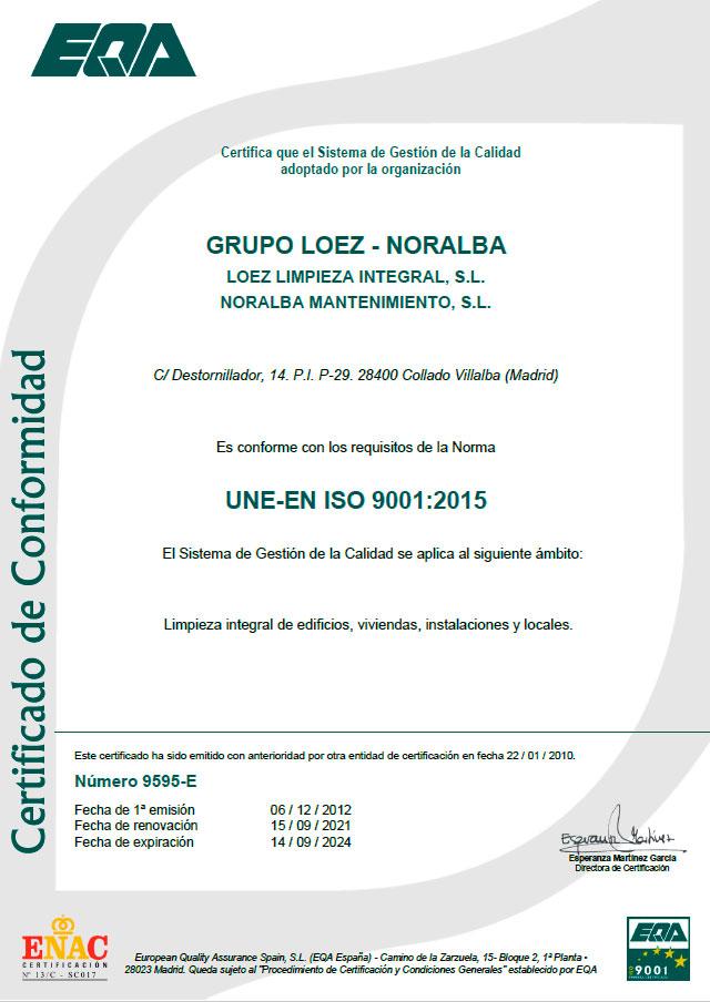 certificado-iso-9001-limpiezas-loez-noralba