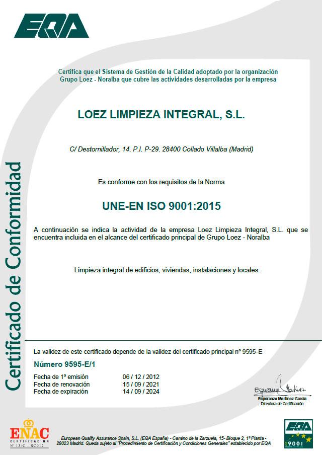 certificado-iso-9001-limpiezas-loez